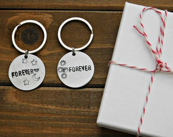 Monthsary gift etsy forever keychain couple set sun moon stars his hers lgbt custom stamped love monthsary anniversary valentines gift silver key chain fob sale negle Gallery