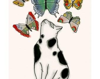 "Black and white cat artwork print -  Butterfly Kitten - 4"" X 6"" 4 for 3 SALE"