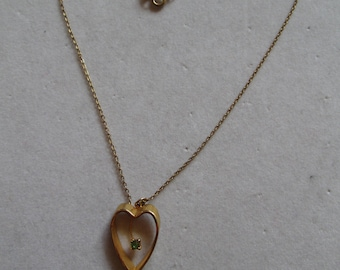 August Peridot and gold heart pendant necklace