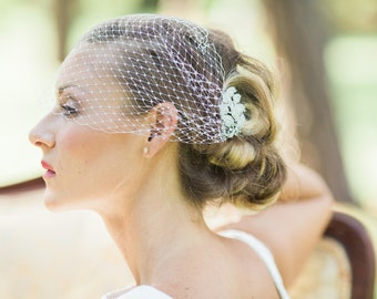 bandeau Birdcage veil set, wedding veils with rhinestone comb- MAGGY