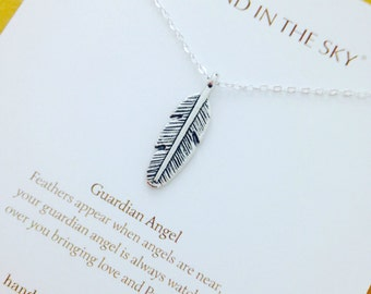 Guardian Angel, Feather appead when angels are near protection Necklace on Gift Card
