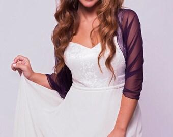 Purple Bridal Shawl, Elegant Cover Up, Purple Sheer Loop Shawl You Can Also Wear As A Shrug, Shawl, Crisscross Or Circle Scarf, Wedding Top