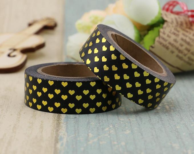 Black Gold Foil Heart  Washi Tape - Foil washi Tape -  Heart Washi Tape - Paper Tape - Planner Washi Tape - Washi - Decorative Tape