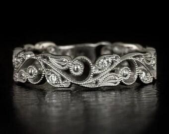 Art Nouveau Original Vintage Filigree Diamond Wedding Band Antique Floral Milgrain Estate 14K White Gold Engraved Ring 5549
