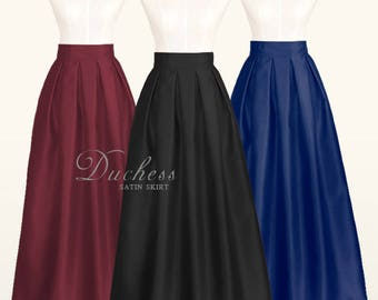 Duchess satin fully lined pleated long skirt with pockets - custom size ankle maxi floor length ball gown skirt in plum black green red navy