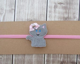 Kitty Headband, Cat Headband, Girls Headband, Toddler Headband, Infant Headband, Elastic Headband, Embroidered Headband