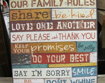 Family Rules,Marla Rae,Our Family Rules Sign,Wooden Sign,12x18