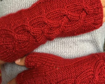 Red Knitted fingerless gloves comfortable and warm