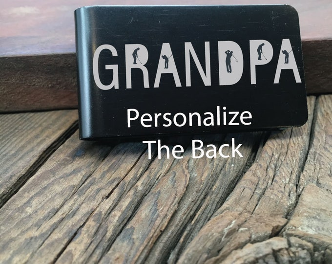 Golfer Grandpa Money Clip Gift For The Grandpa Who Loves Golfing Custom Wallet For Fathers Day Gift For Grandpa Present Money Clip Gift Idea