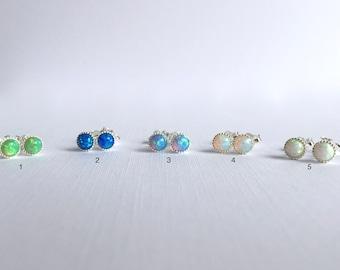 Opal Stud Earrings, White Opal Stud Earrings, Blue Opal Stud Earrings, Green Opal Stud Earrings, Tiny Opal Earrings