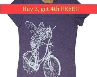 Tshirts for Women | Honey Bee Womens Tshirt | Purple Womens Tops | Trendy Womens Clothing | Funny Tops for Women | Cool Tshirt for Women