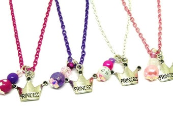 Pink and purple Princess party favors necklaces - Princess birthday favors - Princess jewelry