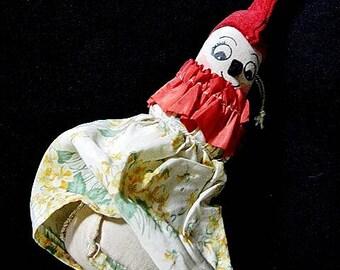 Antique Hand-Made Folk Art Clown Pin Cushion Doll