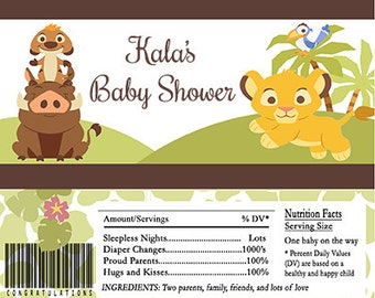 Lion King Inspired Baby Shower Candy Bar Wrappers INSTANT DOWNLOAD Editable