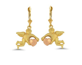 14k solid gold two tone angel with heart lever back earrings.