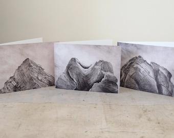 Art Greetings Card Set, from original etchings, Blank Card, 'Peak series'