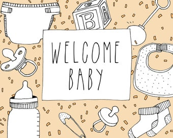 Welcome Baby Card - Illustrated Card - Baby Shower - Birth