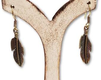 Golden Brass Feathers Earrings