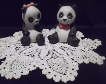 1990 Vintage Avon Collectible Set of 2 Ceramic Black & White Panda Bear Figurines