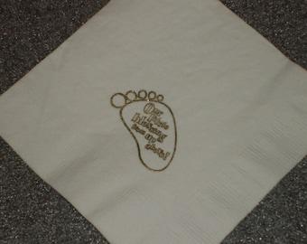 Baptism Christening or Baby Shower Foot Print Cocktail Napkins Embossed Set of 50
