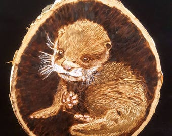 Wood Burning of a Baby Otter