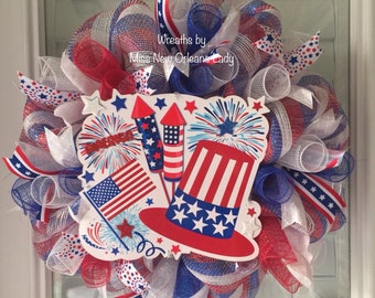 4th of JULY STARS and STRIPES Patriotic wreath