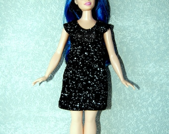 Dress fits Curvy Barbie fashionista fashion doll clothes black with white dots A4B191
