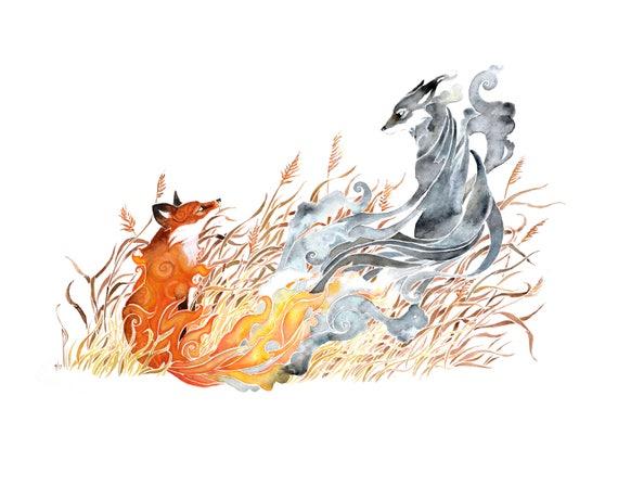 Prairie Fire -  PRINT of original watercolor