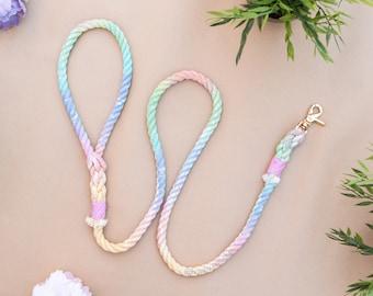 Pastel Rainbow leash, Rainbow dog leash, Ombre leash, Custom dog leash, Puppy lead, Ombre rope lead, Soft leash, Puppy leash, Cotton leash