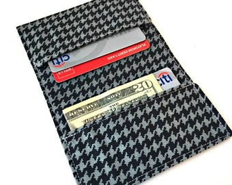 Fabric Wallet, Business Card Holder, Credit Card Holder, Mens Wallet, Womens Wallet, Slim Wallet Women, Credit Card Wallet, Houndstooth Case