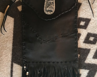Handmade Black deerskin Bag