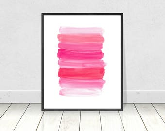 Pink art, PRINTABLE art, Brushstroke art, Wall art, Abstract art, Paintbrush art, Glam decor, Abstract print,Modern art print,Coral print