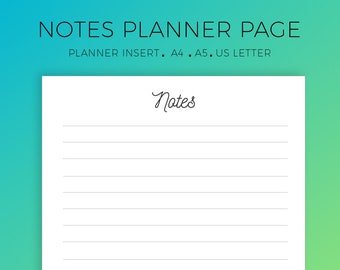 Notes Planner Printable, Notes Planner Insert, Notebook Pages, Daily organizer, Notes template, To-do List, Blank Notes, A4, A5, US Letter