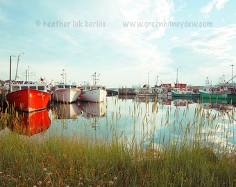 Red White Boat Photography - Wall Decor - Water Marsh Harbour Fine Art Print Nature Romantic Beautiful Canadian