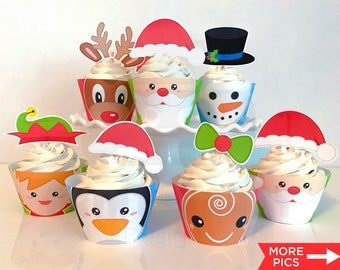 Cupcake Toppers & Wrappers - Christmas Party - Holiday Party - Kids Christmas Party - Christmas Cupcakes - Print Yourself - Instant Download