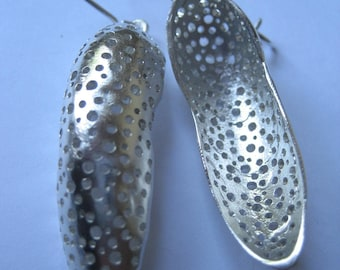 Large' impression' sterling silver earrings