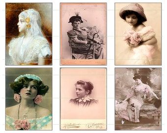 INSTANT DOWNLOAD Vintage Gals Printable Digital Ephemera Printable Images Digital Collage Women Vintage Ephemera Downloadable Vintage Girl