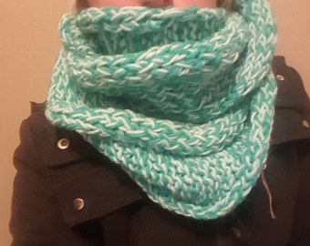 Extra long infinity scarf hand knitted