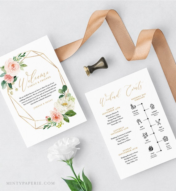 Welcome Bag Letter & Itinerary Template, Wedding Timeline, Order of Events, INSTANT DOWNLOAD, 100% Editable, Boho Floral Greenery #043-112WB