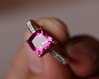 Gemstone Ruby Ring For Women Sterling Silver Ring