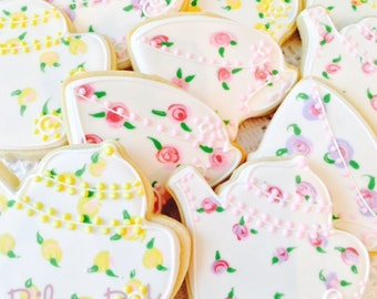 "Custom Decorated ""Tea Party"" Sugar Cookies, Tea Party Birthday Party, Tea Party Baby Shower, Tea Party Baby Shower, tea party favors"