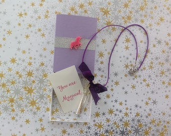 You Are Magical  Unicorn Horn Necklace Message Box and Gift Bag