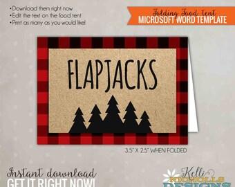 Lumberjack Party Food Tent, Lumberjack Birthday Decoration, Printable Template, Instant Download #B124