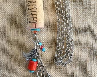 Wine cork necklace, cork necklace, Western necklace, cowgirl jewelry,