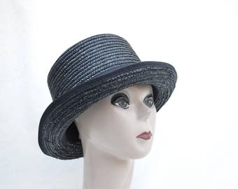 Black Straw Top Hat / Black Top Hat / Mad Hatter Top Hat / Steam Punk Top Hat / Top Hat / Costume Top Hat / Victorian Top Hat