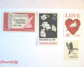 North Carolina Wedding Postage Stamps 2018 rate, Love White Dove - Dogwood - Red 'n White Stamps, Mail 20 Wedding Invitations 2 oz, 71 cents