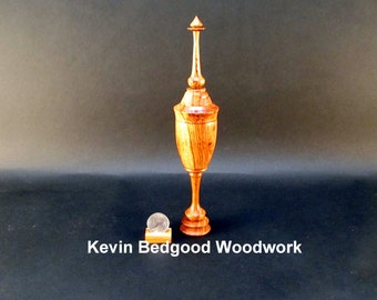 Box Lidded Container Honduran Rosewood with finial turned  jewelry