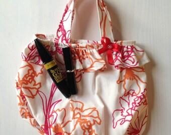 Small fabric bag ruffle girl printed flowers