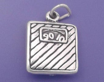 BATHROOM SCALE Charm .925 Sterling Silver DIET Weight Loss Pendant - lp4088