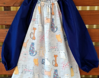 Kids Long Sleeve Art Smock - Size 4 - 7. Cool Cats.